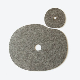 Millstone Table & Cup Mat Set in Grey Brwon/Wool Felt