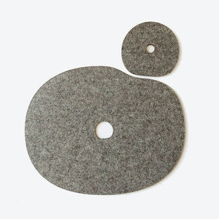 Millstone Table & Cup Mat Set in Grey Brwon/Wool Felt