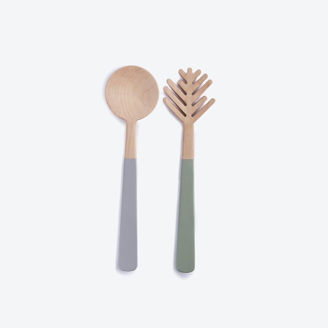Pine Needle Salad Spoon Server Set I