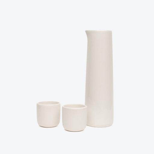 Ceramic Karafe & Tea/Coffee Cups Set in White