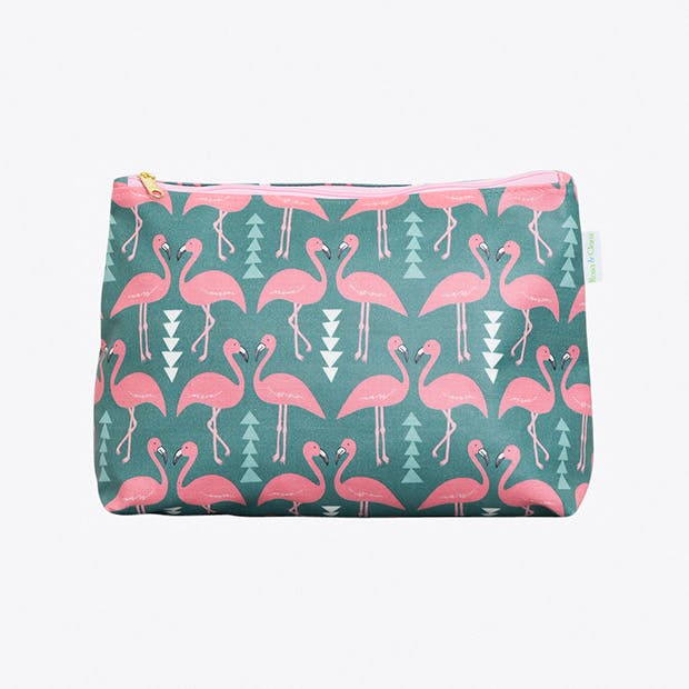 Flamingo Flourish Wash Bag in Mint, Medium
