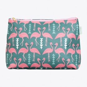 Flamingo Flourish Wash Bag in Mint, Large