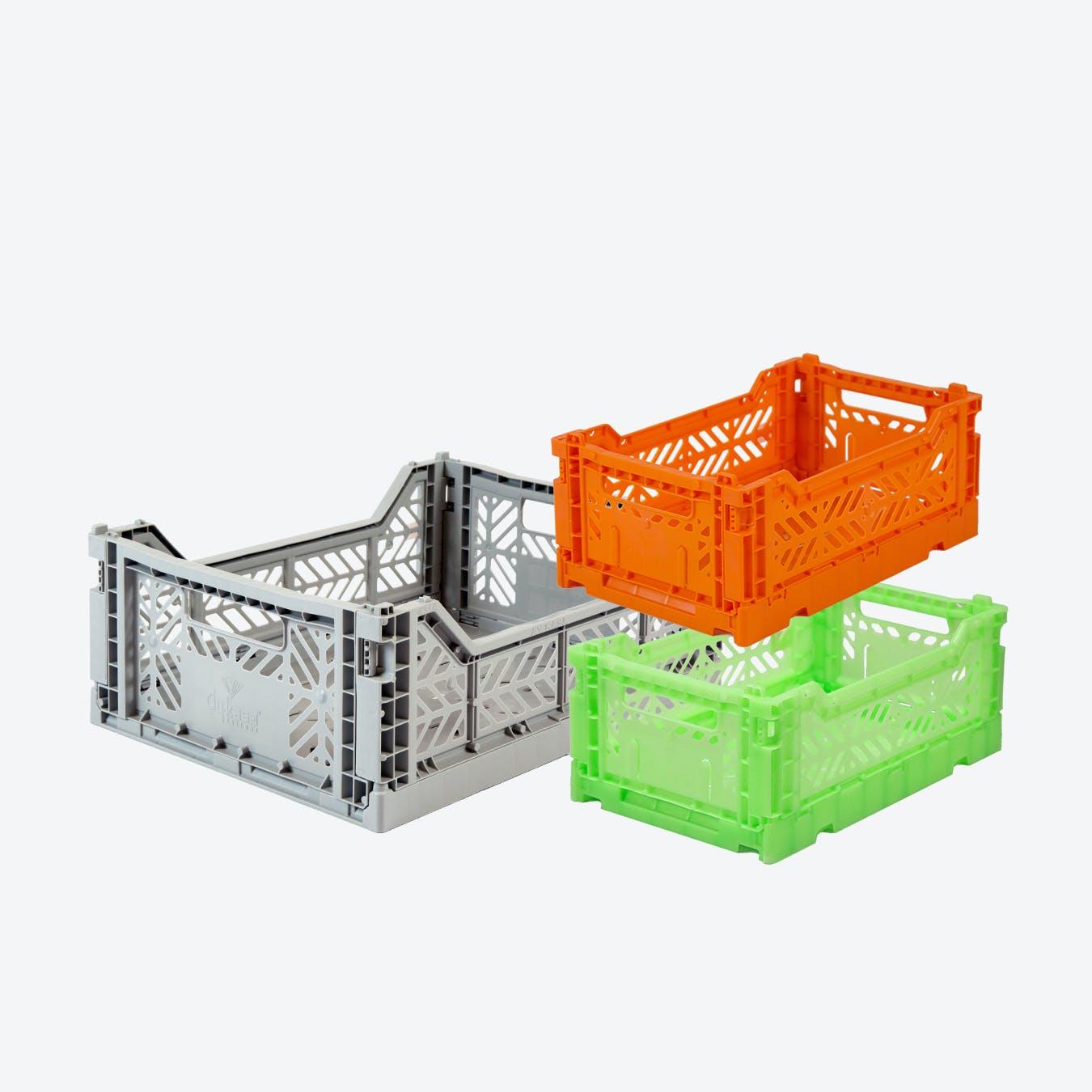 Mini in Orange & Mini in Fluorecent Green & Midi in Grey