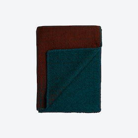 Bernadette Lambswool Throw in Rust/Turquoise