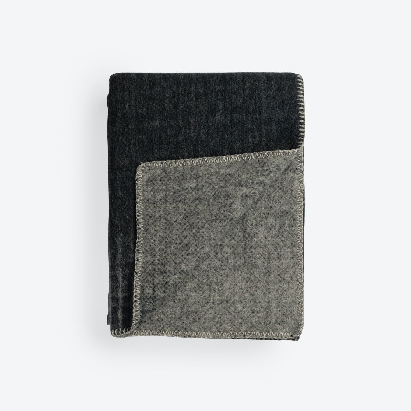 Bernadette Lambswool Throw in Dark Grey/Light Grey