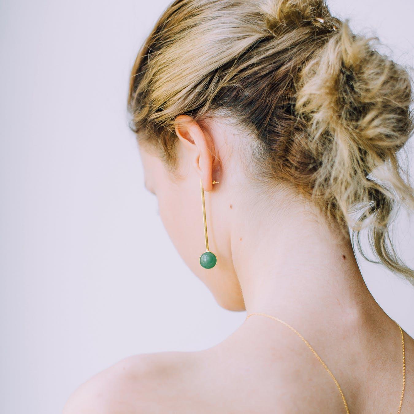 Long Aventurine Earring