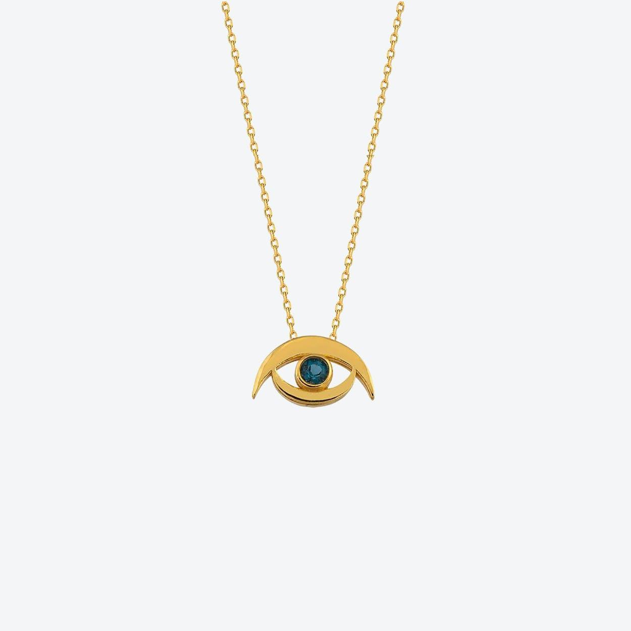 Gold Evil Eye Necklace w/ Topaz