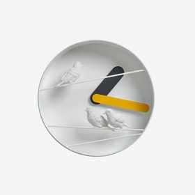 Sparrow X Round Clock - Yellow/Gray