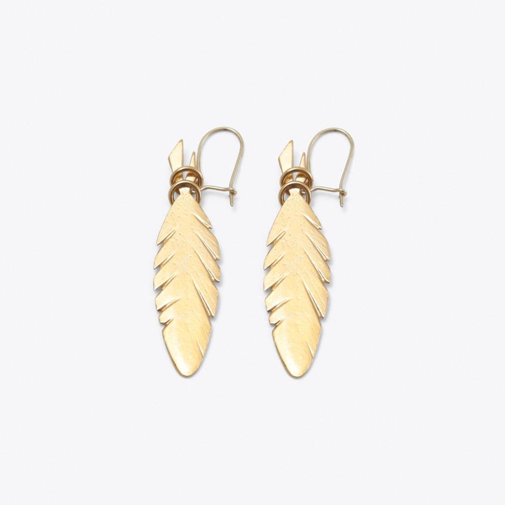 Feather Earrings in Gold