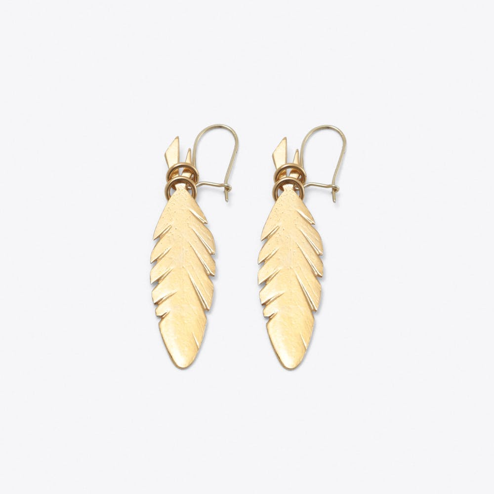 Feather Earrings in Gold