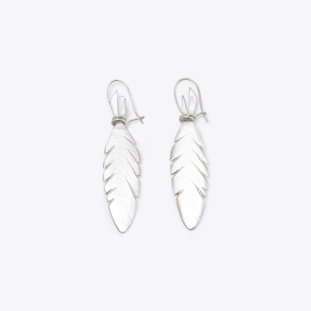 Feather Earrings in Silver