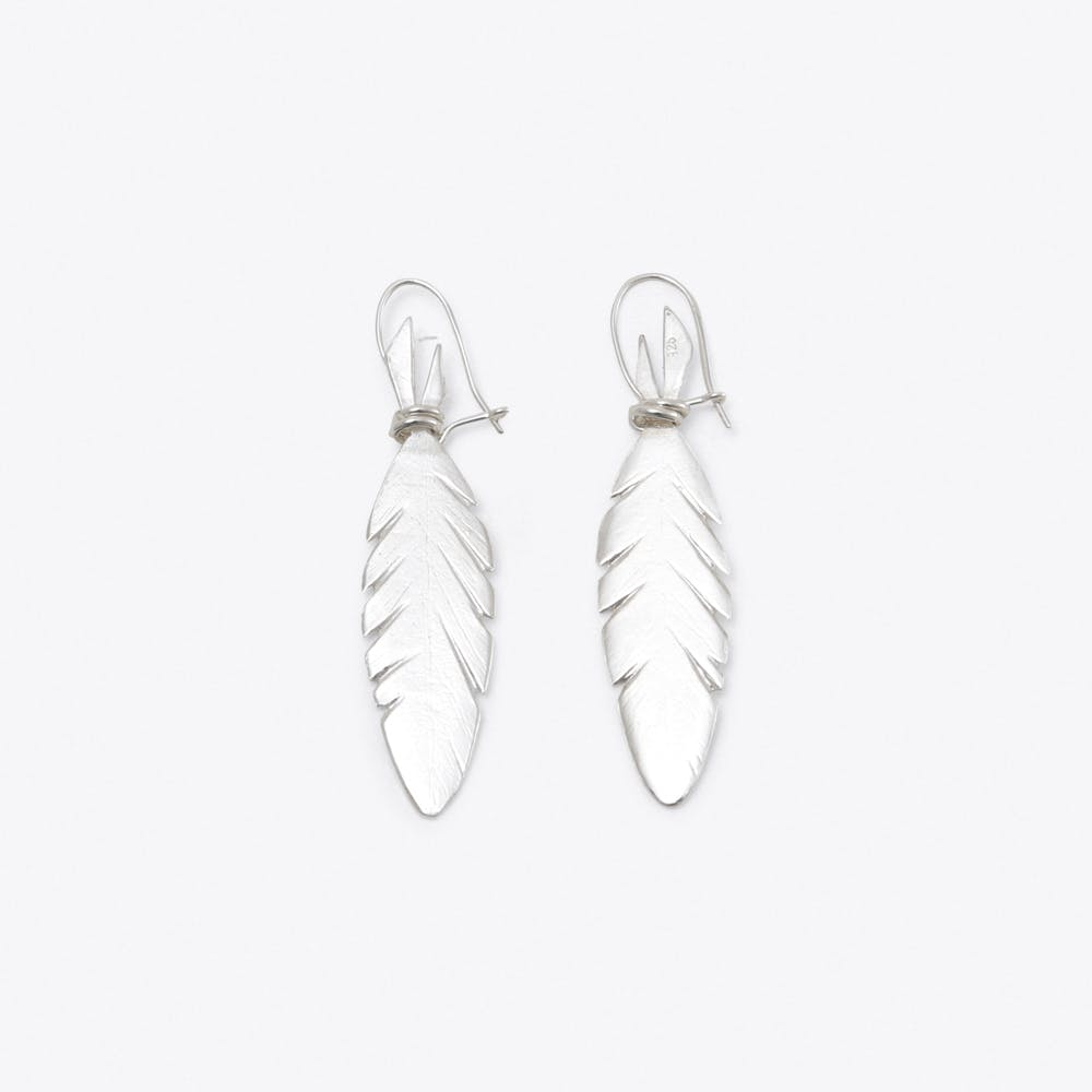 Feather Earrings in Silver