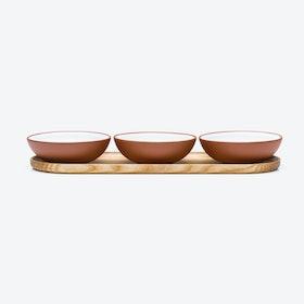 White Snack Set w/ Ash-Wood Tray