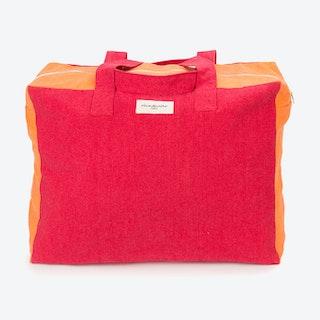 Large Elzevir Weekend Bag in Grenade Red & Navel Orange