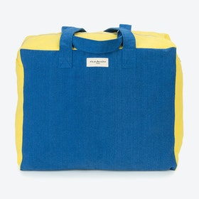 Large Elzevir Weekend Bag in Indigo & Lemon Yellow