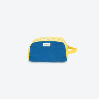 Hermel Toiletry Bag in Indigo & Lemon Yellow