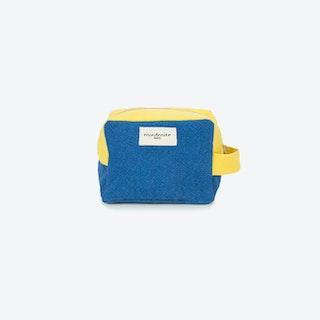 Tournelles Make Up Bag in Indigo & Lemon Yellow