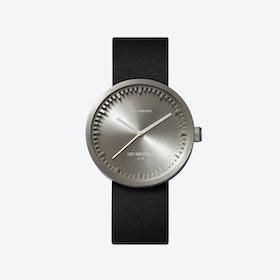 D38 Steel Tube Watch w/ Black Leather Strap