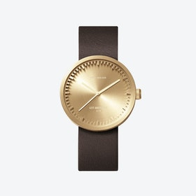 D38 Brass Tube Watch w/ Brown Leather Strap