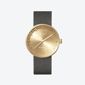 D38 Brass Tube Watch w/ Grey Nylon-Leather Strap