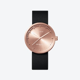 D38 Rose Gold Tube Watch w/ Black Leather Strap