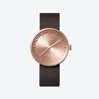 D38 Rose Gold Tube Watch w/ Brown Leather Strap