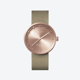 D38 Rose Gold Tube Watch w/ Sand Nylon-Leather Strap
