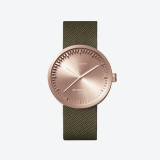 D38 Rose Gold Tube Watch w/ Green Nylon-Leather Strap