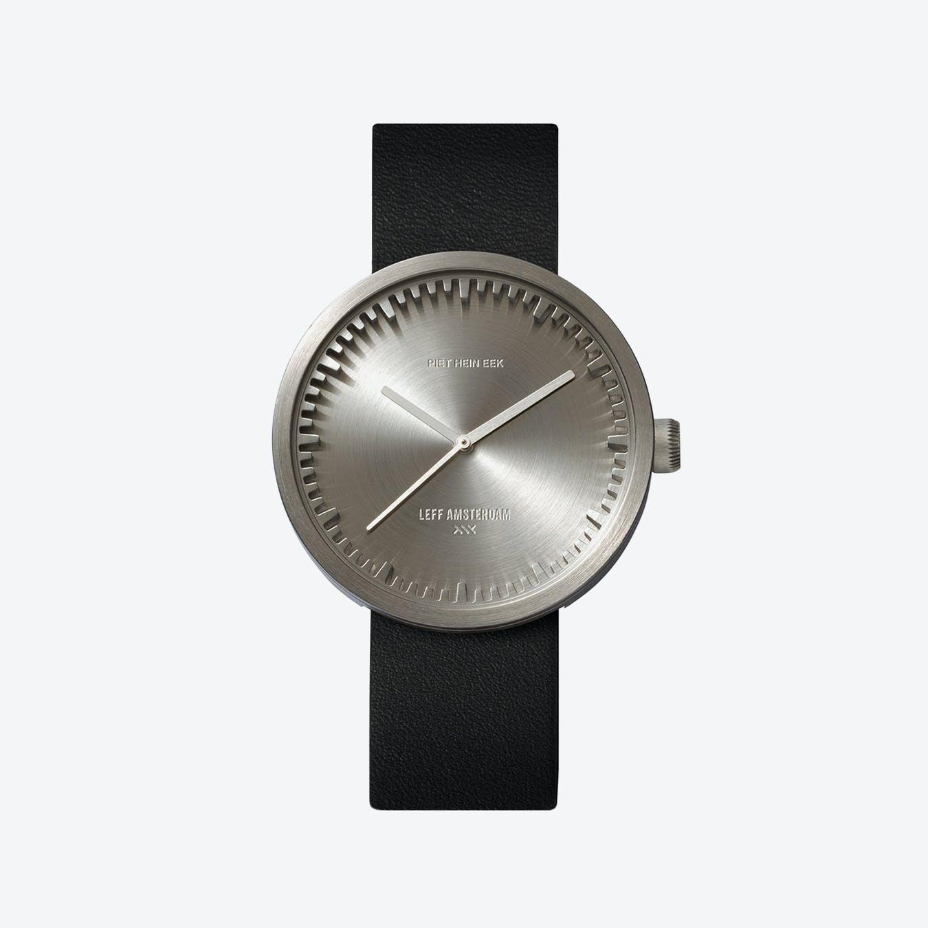 D42 Steel Tube Watch w/ Black Leather Strap