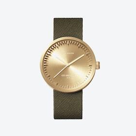 D42 Black Tube Watch w/ Green Cordura-Leather Strap