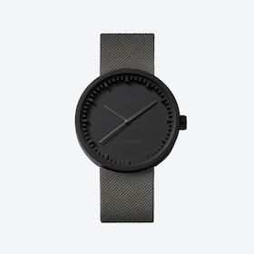 D42 Black Tube Watch w/ Grey Cordura-Leather Strap