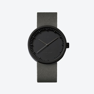 D42 Black Tube Watch w/ Grey Cordura-Leather Strap