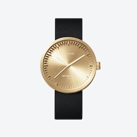 D42 Brass Tube Watch w/ Black Leather Strap