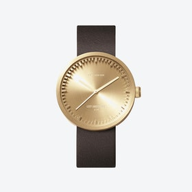 D42 Brass Tube Watch w/ Brown Leather Strap
