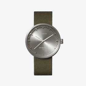 D42 Brass Tube Watch w/ Green Cordura-Leather Strap