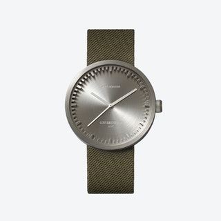 D42 Brass Tube Watch w/ Green Cordura-Leather Strap