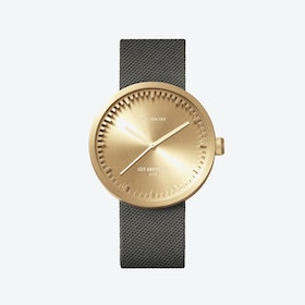D42 Brass Tube Watch w/ Grey Cordura-Leather Strap