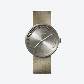 D38 Steel Tube Watch w/ Sand Nylon-Leather Strap