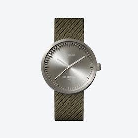 D38 Steel Tube Watch w/ Green Nylon-Leather Strap