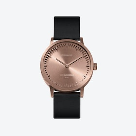 T32 Rose Gold Tube Watch w/ Black Leather Strap