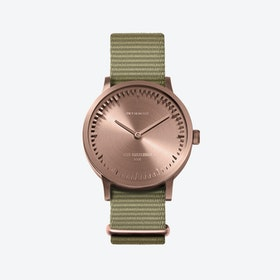 T32 Rose Gold Tube Watch w/ Sand Nato Strap