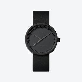 D38 Black Tube Watch w/ Black Leather Strap