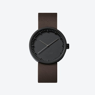 D38 Black Tube Watch w/ Brown Leather Strap