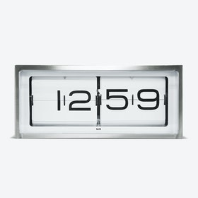 Brick Table Clock - Stainless Steel & White