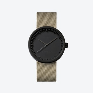 D38 Black Tube Watch w/ Sand Nylon-Leather Strap
