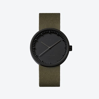 D38 Black Tube Watch w/ Green Nylon-Leather Strap