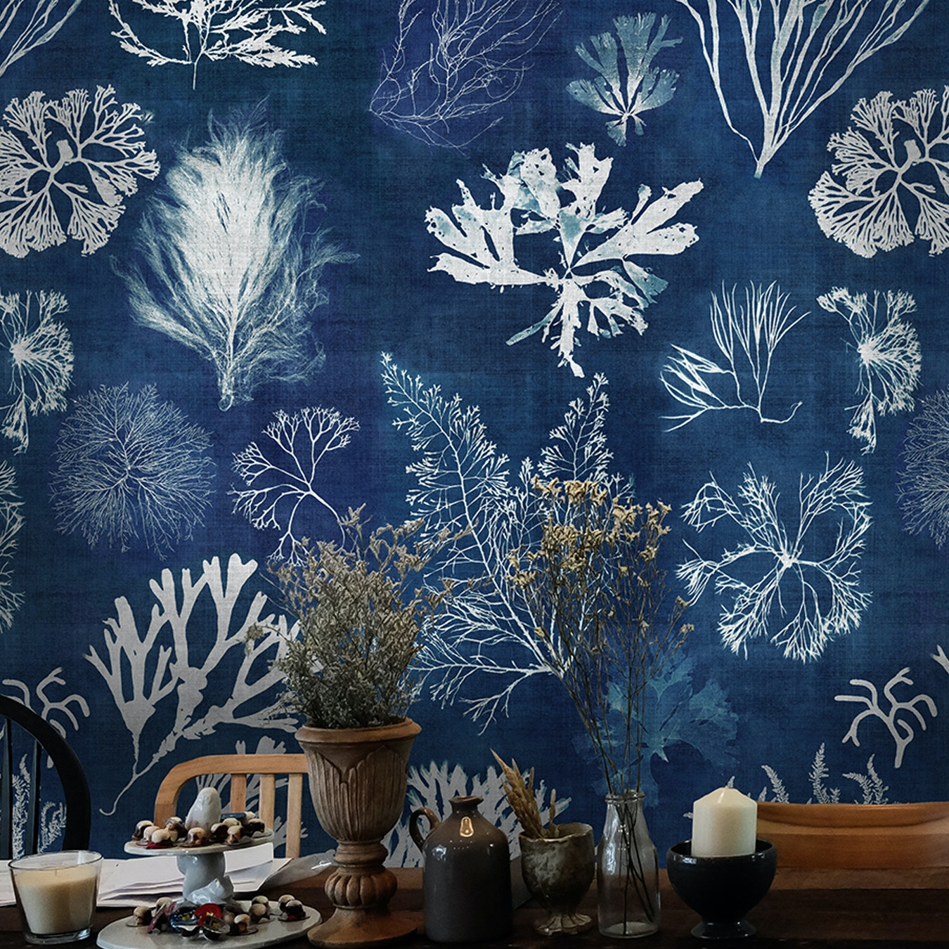 Algae Navy Blue Wallpaper By Mind The Gap Fy