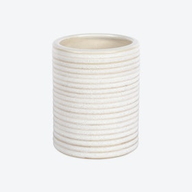 Wide Cylindrical Stoneware Vase