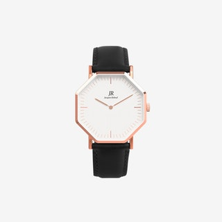 Unisex Rose Gold Hexagonal Watch with Black Leather Strap, 41mm - Jacques Reboul Watches