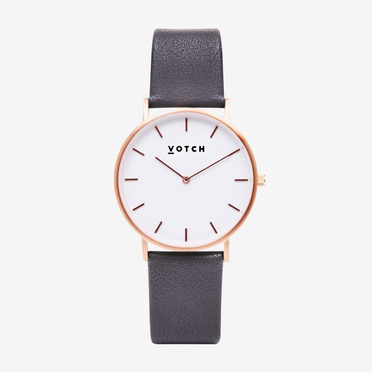 Classic Watch in Rose Gold with White Face and Dark Grey Vegan Leather Strap, 38mm - Votch